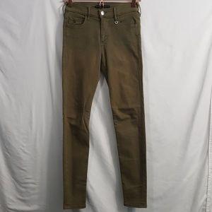 True Religion army green skinny stretch jeans